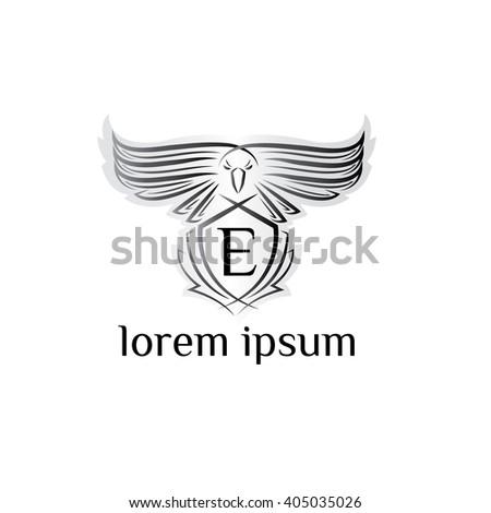 Eagle letter E Logo, bird logo,Phoenix logo,Vector Logo template. Bird of prey logo.   - stock vector