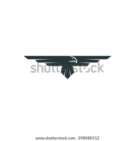 Eagle logo raven mockup, predator bird wings silhouette, aviation emblem design element - stock vector