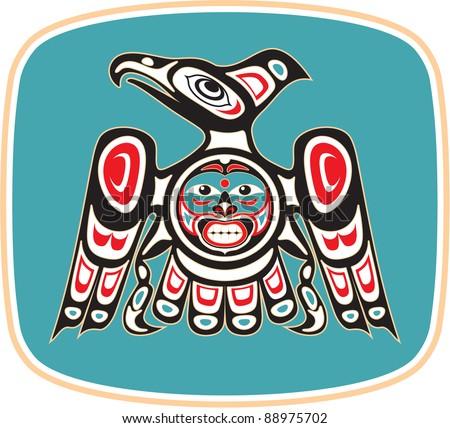 Eagle - Native American Style Vector - stock vector