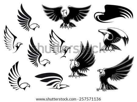 Eagle silhouettes showing flying and standing birds with outstretched wings in outline sketch style for logo, tattoo or heraldic design - stock vector