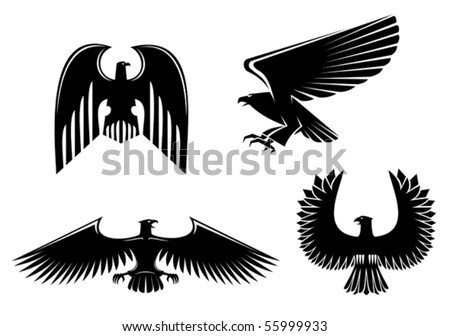 Eagle symbol isolated on white - also as emblem or logo template. Jpeg version also available in gallery