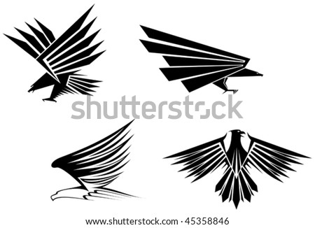 Eagle symbol isolated on white for tattoo design - also as emblem or mascots template. Jpeg version is also available - stock vector