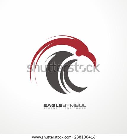 Eagle symbol vector template. Creative logo design concept with artistic and simplified bird. Unique falcon illustration icon. - stock vector