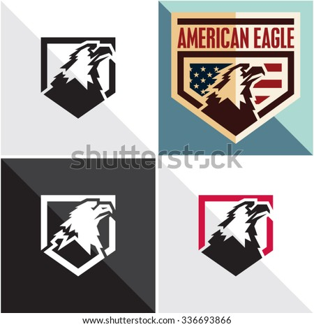 Eagle vector sign. American eagle vintage style label - stock vector