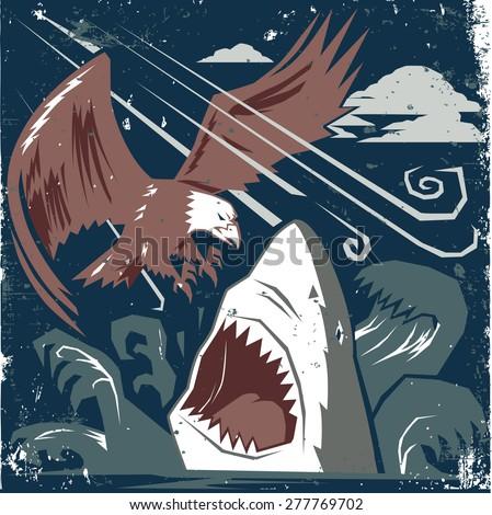 Eagle vs Shark - stock vector