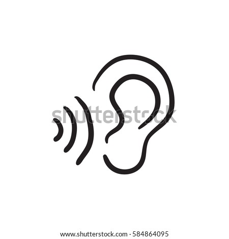 Ear sound waves vector sketch icon stock vector 584864095 ear and sound waves vector sketch icon isolated on background hand drawn ear and sound sciox Gallery