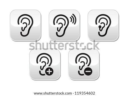 Ear hearing aid deaf problem buttons set - stock vector