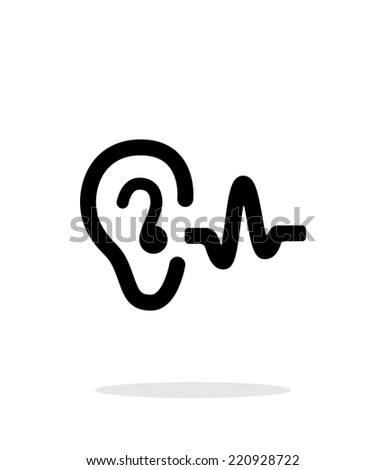 Ear hearing sound icon on white background. Vector illustration. - stock vector
