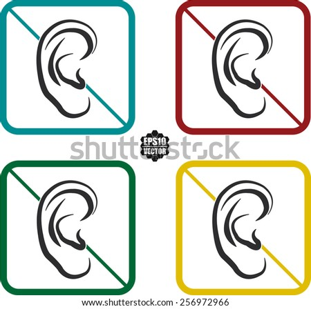 Ear Hearing Symbol And Icons Set On White Background And Colorful Border. Vector illustration.  - stock vector