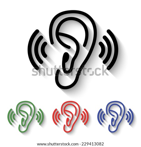 Listen Ear Icon Ear Icon Black And Colored
