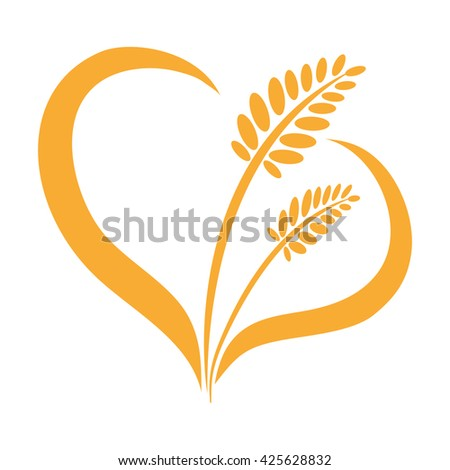 Ear of wheat isolated heart on a white background. Barley, rye. Vector illustration. - stock vector