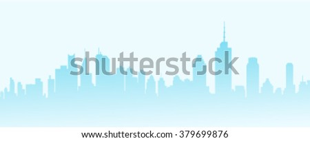 Early City Morning Skyline - Vector