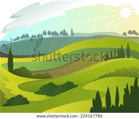 Early countryside morning landscape illustration - stock vector