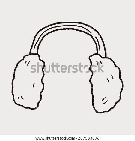 earmuffs doodle - stock vector