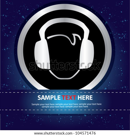 Earphone Sign on abstract background,Vector - stock vector