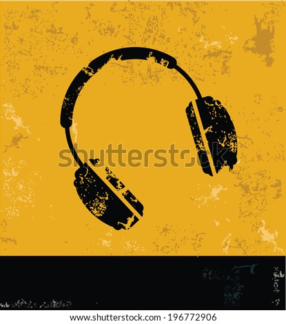 Earphone symbol,Grunge vector - stock vector
