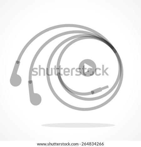 Earphones symbol with play button. Monochromatic vector illustration - stock vector