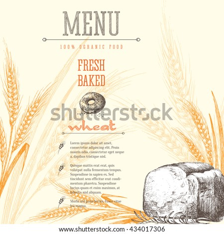 Ears of wheat, bread isolated vector sketch hand drawn background, bakery shop background with ears of wheat, title and text layout. - stock vector