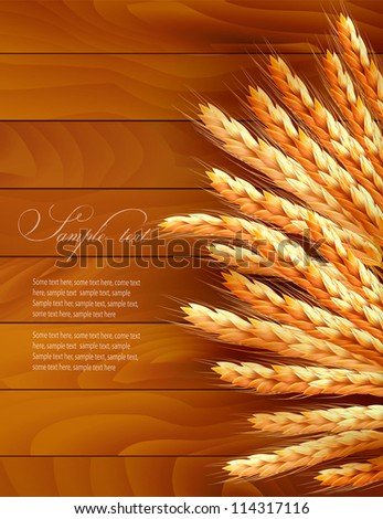 Ears of wheat on wooden background. Vector illustration. - stock vector
