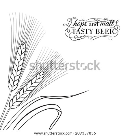Ears of Wheat visual graphic icons, ideal for beer labels. Vector illustration.