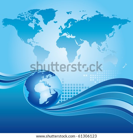earth and abstract blue background - stock vector