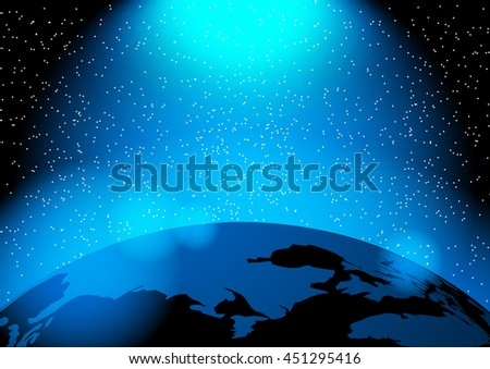 Earth and blue light vector illustration - stock vector
