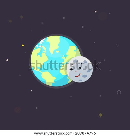 earth and moon. love - vector illustration - stock vector