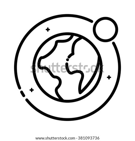 Earth And Moon, vector outline icon. - stock vector