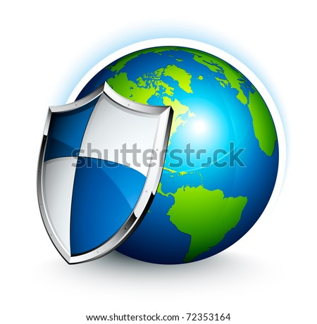 earth and shield - stock vector