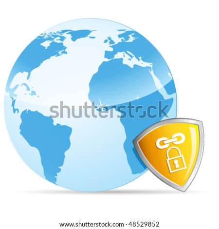 Earth and shield - vector illustration - stock vector