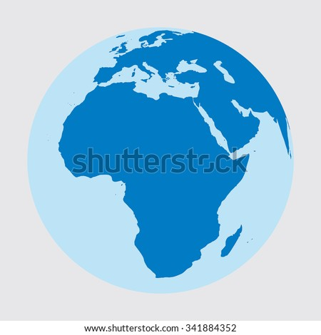 Earth as a sphere where we see Africa and part of Europe and Asia. Continents are blue and white background. Vector - stock vector