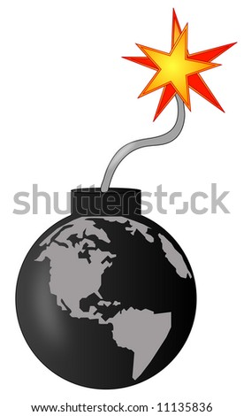 earth as an explosive bomb going off - vector - stock vector