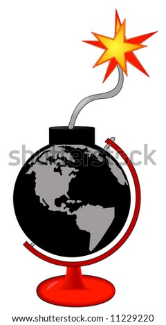 earth as an explosive bomb with lit fuse in stand - vector - stock vector