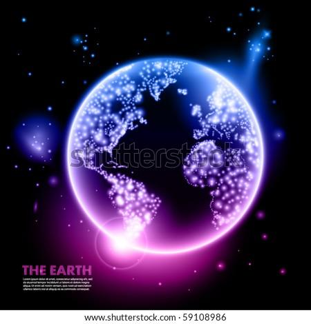 earth at night - stock vector