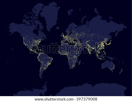 Earth night world map earth day stock vector 397379008 shutterstock earth at night world map earth day concept world population biggest cities glow gumiabroncs Gallery
