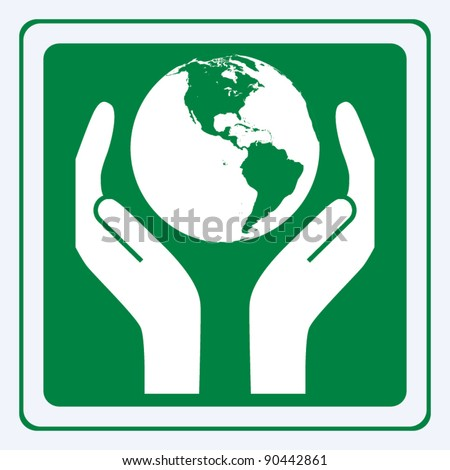 Earth care sign vector - stock vector