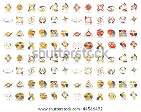 Earth Colours Abstract Vector Icon Design Element Set - stock vector