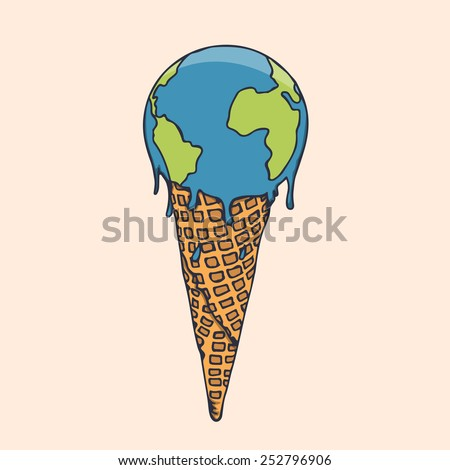 Earth Cream Cone Save The Planet Poster Concept - stock vector