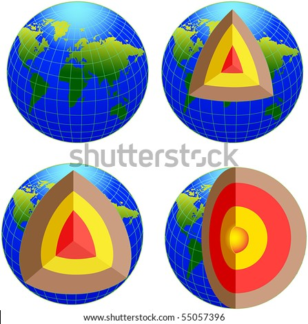 Earth cross section - vector - stock vector