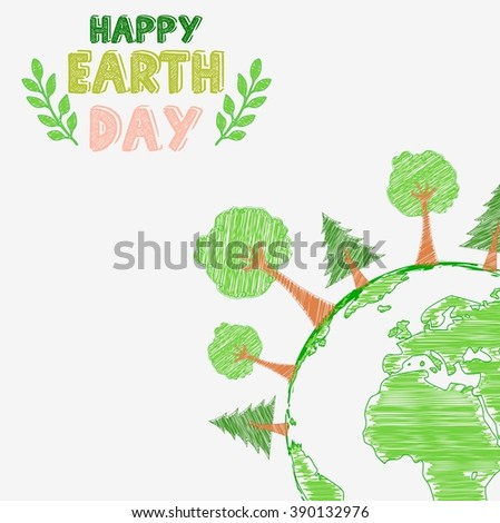 Earth day and the environment with shape paintings.Vector - stock vector