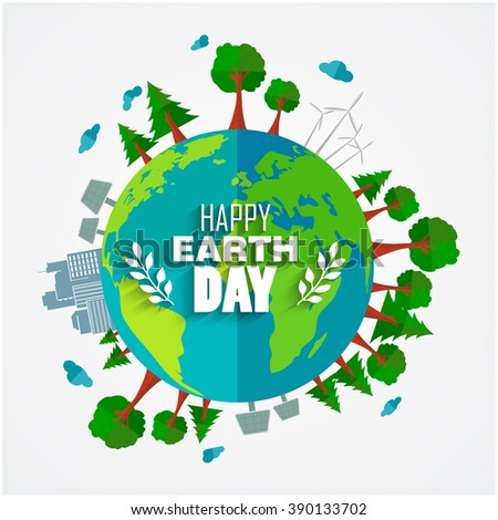Earth Day background for environment symbols on clean earth.Vector