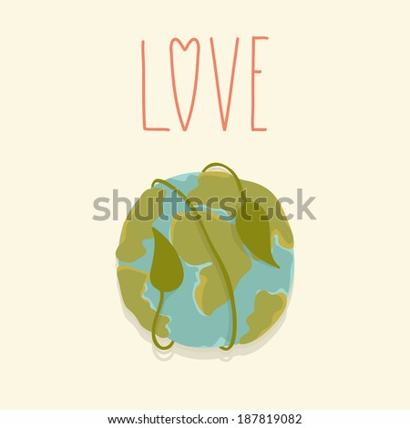 Earth day card template. Vector postcard layout. I love my planet - stock vector