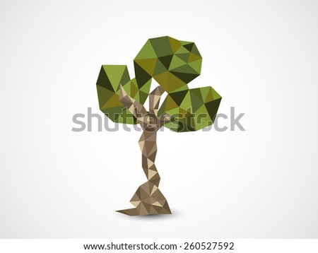 Earth Day celebration with creative origami tree on shiny grey background. - stock vector