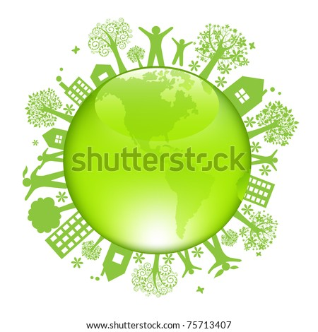 Earth Day Concept, Isolated On White Background, Vector Illustration - stock vector