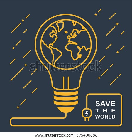 Earth Day concept. . Light bulb with world map on it. Global ecology concept. Green eco power concept. Friendly environment. Save love the world, earth, our planet. creative illustration. Infographics