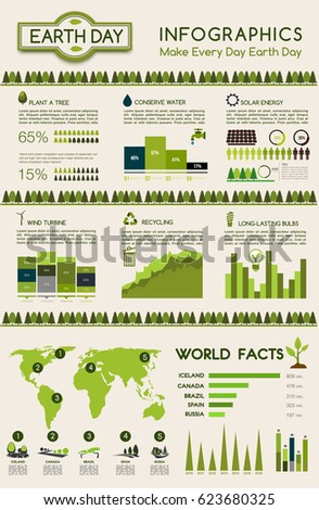 Earth day eco infographic go green stock vector 623680325 shutterstock earth day eco infographic go green principles graph and chart with eco energy of solar ccuart Gallery
