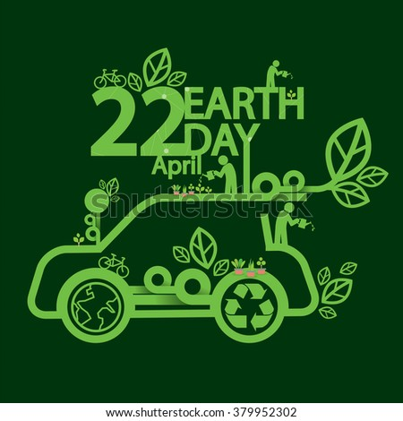 Earth Day Ecologic Driving Concept Vector Illustration