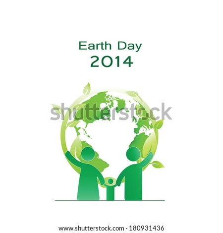 Earth day elements with globe and people - stock vector
