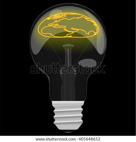 Earth day glower map inside the light bulb on dark black background. Vector illustration. - stock vector