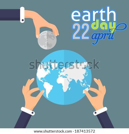 Earth Day Green World Flat Design - stock vector
